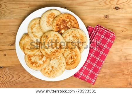 the tasty pancakes on plate - stock photo