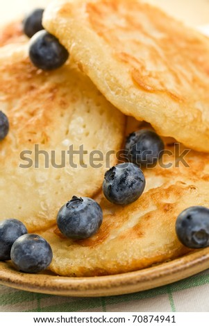the tasty pancakes with blueberries - stock photo