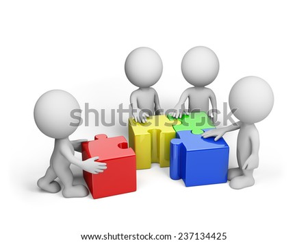 The team connects the multi-coloured jigsaw puzzle. 3d image. White background. - stock photo