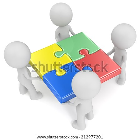 The team. The dude x 4 holding joined puzzle pieces. Red, green, blue and yellow. - stock photo