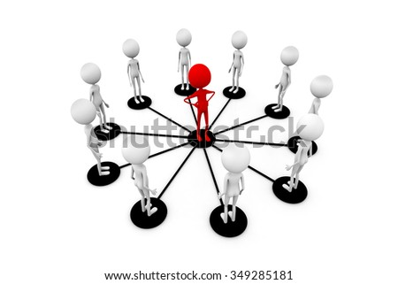 The teamwork icon / Leadership and connection / leadership concept / 3d illustration. - stock photo
