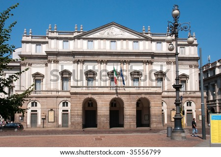 The Teatro alla Scala in Milan, Italy. La Scala (Italian: Teatro alla Scala), is a world renowned opera house in Milan, Italy. The theatre was inaugurated on 3 August 1778. - stock photo