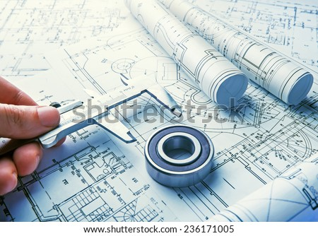 The technical drawings - stock photo