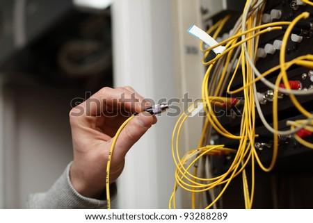Technician Connecting Fiber Optic On Telecom Stock Photo 93288289 ...