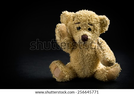 the teddy bear on black background - stock photo