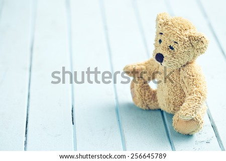 the teddy bear on blue table - stock photo