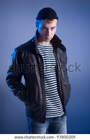 The teenager gets it is not known from a jacket - stock photo