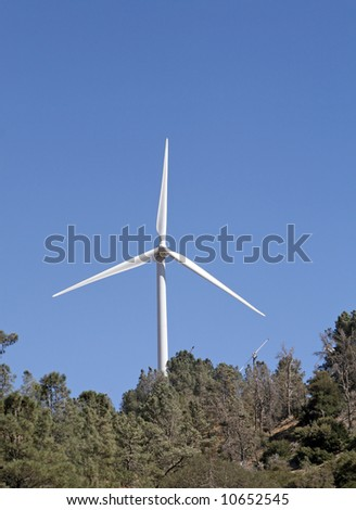 The Tehachapi Wind Farm in southern California's Kern county is the second largest collection of wind generators in the world with more than 5,000 wind turbines. - stock photo