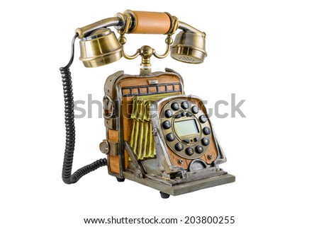 The telephone in style of a retro on the white background - stock photo