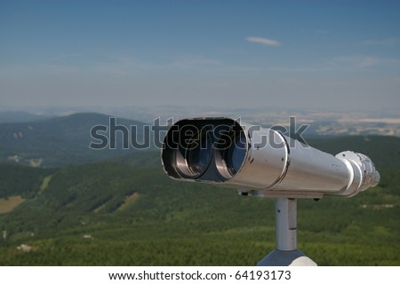 The telescope on the observation tower - stock photo