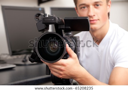The television operator on a working platform - stock photo