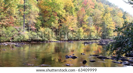 The Telico River in eastern Tennessee in the Fall