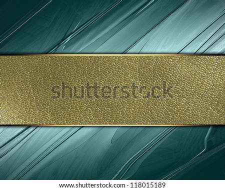 The template for the inscription. Abstract green Background with gold nameplate for writing. - stock photo