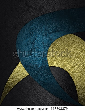 The template for the inscription. Black background with abstract patterns of blue and gold color. - stock photo