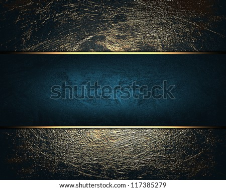 The template for the inscription. Shabby gold background with blue name plate for writing. - stock photo