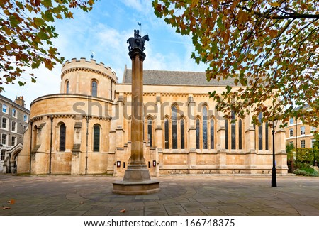 The Temple Church, a late-12th-century church in London, England - stock photo