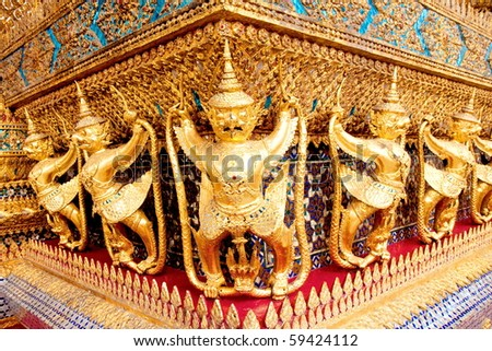 The temple in the Grand palace area. Bangkok ,Thailand. - stock photo