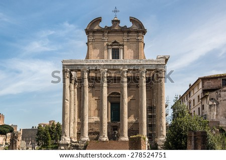 The Temple of Antoninus and Faustina is an ancient Roman temple in Rome, adapted to the catholic church of San Lorenzo in Miranda. It stands in the Forum Romanum, on the Via Sacra. Rome, Italy. - stock photo