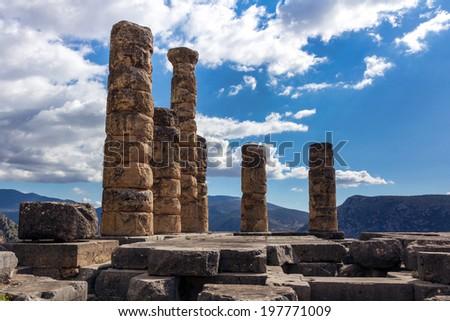 The temple of Apollo, Delphi, Greece - stock photo
