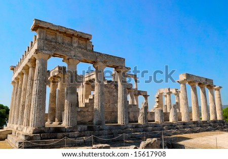 the temple of Apollo on Aegina island, Greece