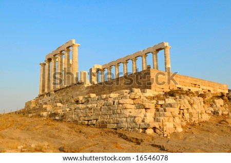 the temple of Apollo on the Aegina island, Greece - stock photo