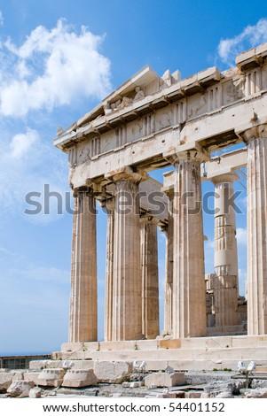 The Temple of Athena at the Acropolis, Parthenon, Athens, Greece - stock photo