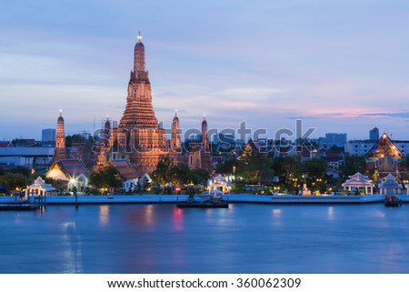 The Temple of Dawn called Wat Arun river front, Thailand most famous landmark  - stock photo