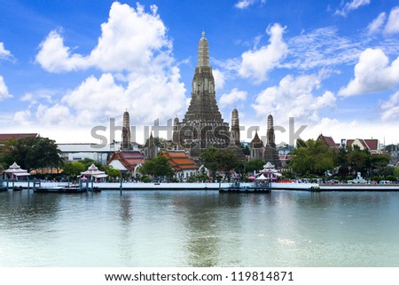 The Temple of Dawn near Chaopraya, river  Bangkok, Thailand - stock photo
