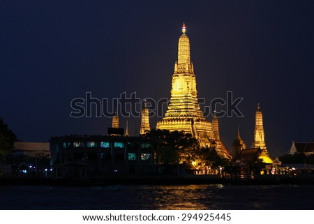 The Temple of Dawn (Wat Arun) in the night, Thailand - stock photo