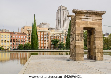 The Temple of Debod in the Parque del Oeste, Madrid, Spain. The shrine was originally erected 15 kilometres south of Aswan in Upper Egypt in 200 BC.