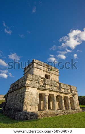 the temple of frescos, tulum, mexico, in portrait format