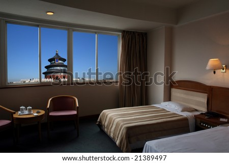 The Temple of Heaven out of the window. - stock photo