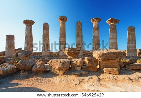 The temple of heracles in the Valley of the Temples, Agrigento, Sicily island, Italy.