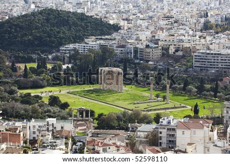 The Temple of Olympian Zeus, also known as the Olympieion, is a colossal ruined temple in the centre of the Greek capital Athens. View from Acropolis.