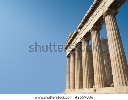 the temple of Parthenon on Acropolis in the city of Athens, Greece - stock photo