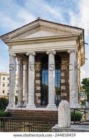 The Temple of Portunus (Italian: Tempio di Portuno) is an ancient building in Rome, Italy, the main temple dedicated to the god Portunus in the city - stock photo