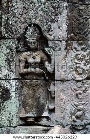 The Temple of  Preah Khan in the Temple City of Angkor near the City of Siem Riep in the west of Cambodia.