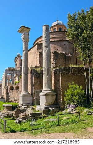 The Temple of Romulus (The basilica of Santi Cosma e Damiano) and The church of San Lorenzo in Miranda, Roman Forum, Rome, Italy