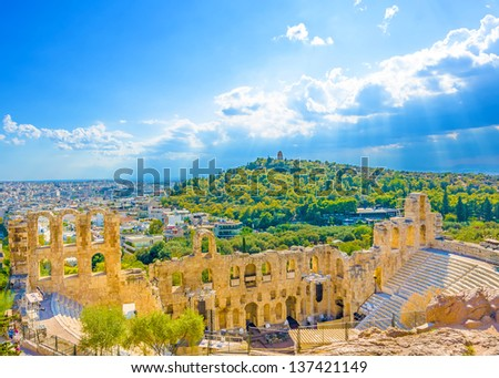 The temple of the Ancient theater of Herodes under Acropolis of Athens Greece - stock photo