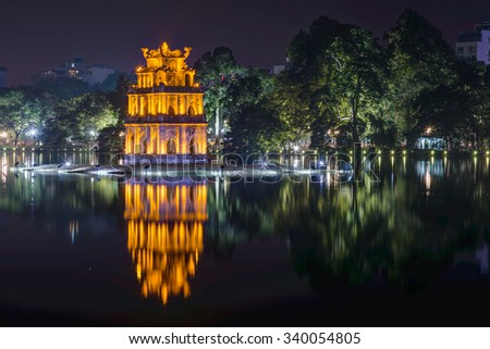 The Temple of the Jade Mountain, Hoan Kiem Lake, Hanoi, Vietnam - stock photo