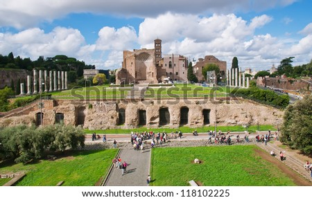 The Temple of Venus and Roma in Rome - stock photo