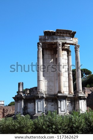 The Temple of Vesta at Roman forum in Rome. - stock photo