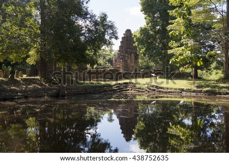 the Temple Ruin of the Prasat Ta Muean Tot Temple of the Muean Group of Khmer Temples direct at the Border of Thailand and Cambodia south of the city of Surin in Isan in Thailand.