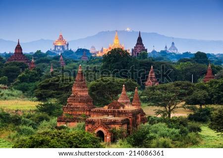 The  Temples of Bagan at night, Mandalay, Myanmar - stock photo