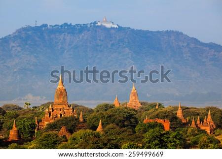 The Temples of bagan at sunrise, Bagan, Myanmar - stock photo