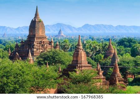 The Temples of bagan at sunrise, Bagan(Pagan), Myanmar - stock photo