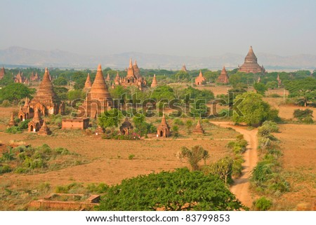 The temples of Bagan at sunrise, Myanmar (Burma).