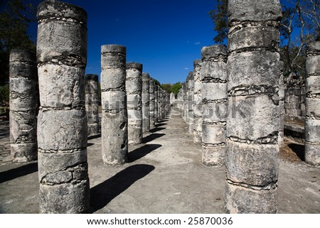 The temples of chichen itza temple in Mexico - stock photo