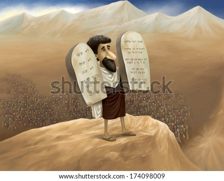The Ten Commandments, also known as the Decalogue, are a set of biblical principles. - stock photo