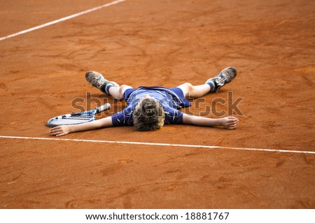 the tennis champion - stock photo